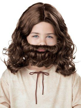 Childrens Jesus or Joseph Wig and Beard Set
