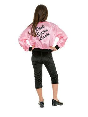 Childrens Pink Satin Ladies Jacket Costume