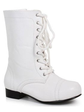 White Ankle Combat Boot For Children