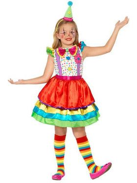 Childs Deluxe Clown Girl's Costume