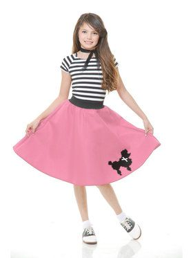 Girl's Pink 50's Poodle Skirt
