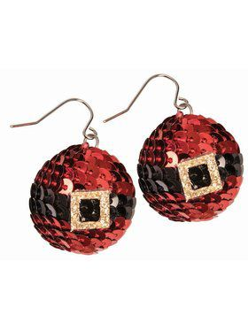 Red Sequin Christmas Earrings
