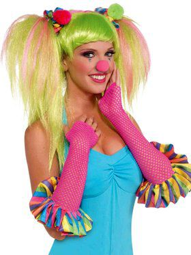Circus Sweetie Pink Fishnet Gloves with Multi-color Ruffles