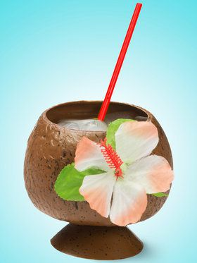 Coconut Cup with Flower & Straw Set