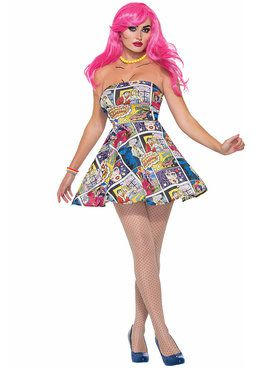 Comic Printed Dress Women's Costume