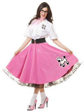 Complete 50's Poodle Outfit Adult Pink