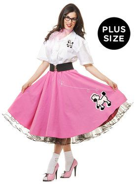 Complete Poodle Skirt Outfit (Pink White) Adult Plus Costume