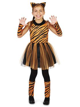 Cool Cat Tigeress Girl Costume For Children