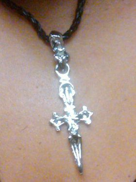 Cord Necklace with Pewter Pirate Dagger Pendant
