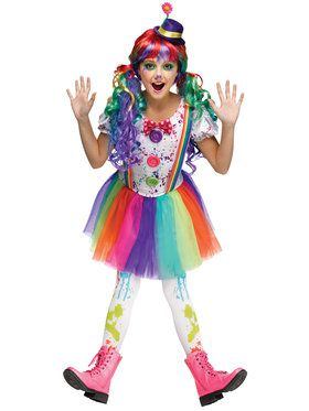 Crazy Color Clown Girl's Costume