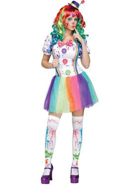 Crazy Color Clown Womens Costume