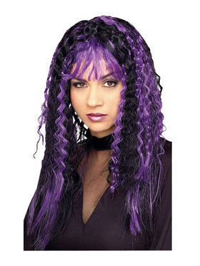 Crimped Purple and Black Witch Wig Adult