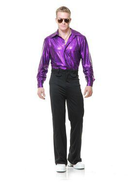 Crocodile Skin Disco Shirt - Purple