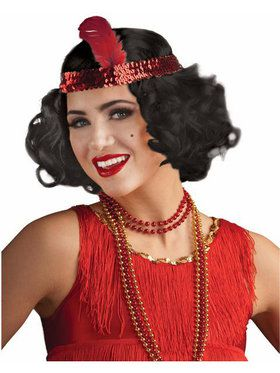 Curly Flapper Wig w/headband - Black