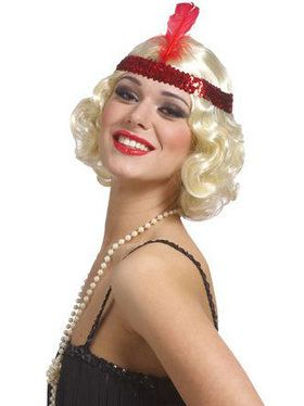 Curly Flapper Wig w/headband - Blonde