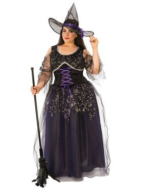 Womens Curvy Midnight Witch Costume