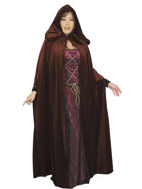 Adult's Dark Velvet Hooded Cloak