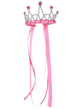 Dark Pink Ribbon and Jeweled Princess Tiara