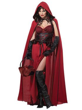 Dark Red Riding Hood Costume For Adults