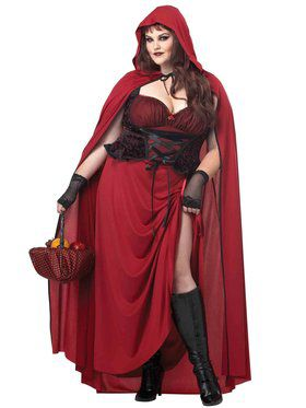 Dark Red Riding Hood Curvy Women's Costume