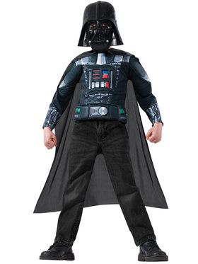 Darth Vader Muscle Chest Shirt Set Boy's Costume