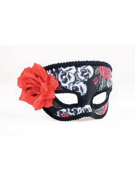 Womens Day of the Dead 1/2 Mask with Rose