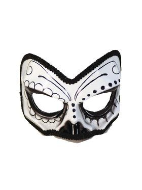 Black and White Sugar Skull 1/2 Mask