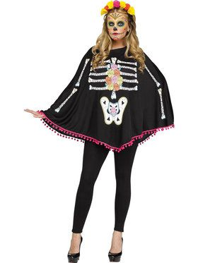 Adult Day of the Dead Poncho Costume For Adults