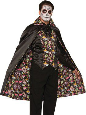 Day of the Dead Cape Men's Costume