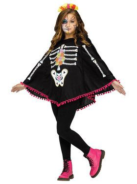 Day of the Dead Poncho Costume For Children
