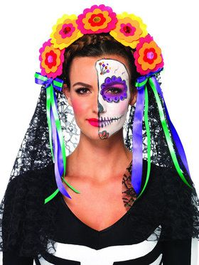 Day of the Dead Headband with Flowers & Veil