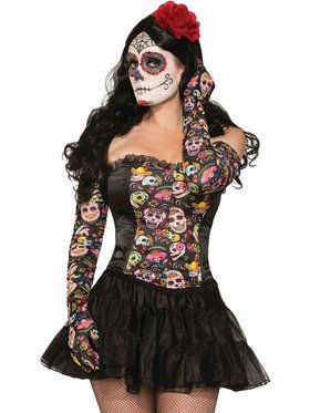 Day of the Dead Long Rouched Gloves Adult Size
