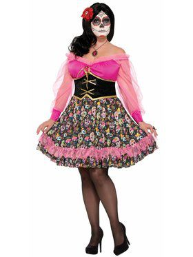 Adult Day of the Dead Senorita Plus Costume