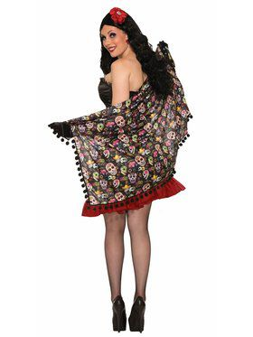 Day of the Dead Adult Shawl