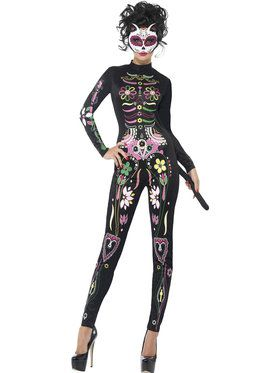 Day of the Dead Womens Sugar Skull Cat Costume