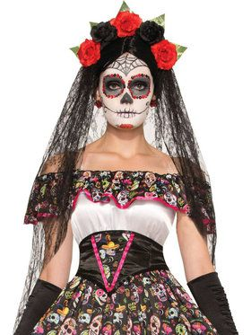 Day of the Dead Veil and Headband with Roses