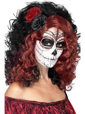 Day of the Dead Wig with Roses for Women
