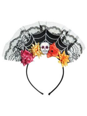 Day Of The Dead Spiderweb Headband For Women