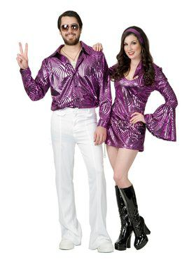 Plus Adult's Psychedelic Purple Disco Shirt