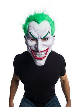 Adult DC Joker Clown Mask With Green Hair