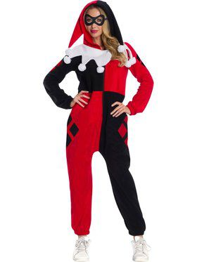 DC Superheroes Harley Quinn Onesie Costume for Adults