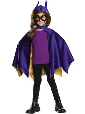 DC SuperHero Batgirl Hooded Cape And Mask Set Girl's Costume
