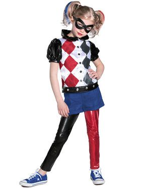 DC SuperHero Deluxe Harley Quinn Girls Costume