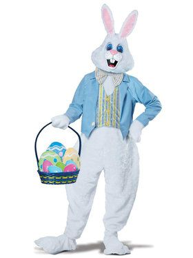 Deluxe Easter Bunny Mascot Costume For Adults