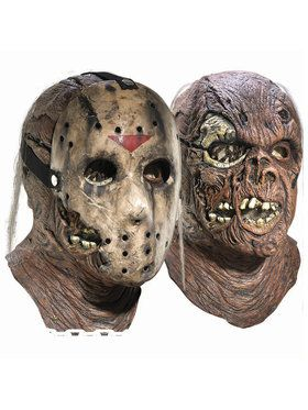 Adult Jason Overhead Latex Mask with Removable Hockey Mask Deluxe For Adults
