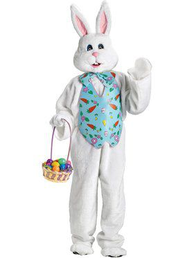 Deluxe Adult Plus Size White Bunny with Blue Vest and Mascot Head