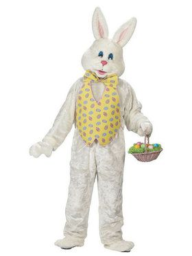 Deluxe Adult Plus Size White Bunny with Yellow Vest and Mascot Head