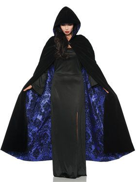 Deluxe Black Velvet and Purple Satin Flocked Cape Women's Costume