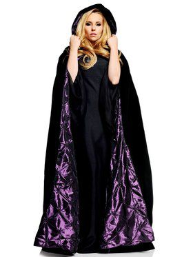Deluxe Black Velvet w/ Purple Satin Adult Cape
