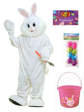 Deluxe Easter Bunny Mascot Costume Kit With Easter Bucket, Eggs And Jelly Beans - Standard